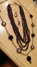 JEWELRY LOT SET VINTAGE COLDWATER CREEK NECKLACES CHAIN SEED BEADS PURPLE 0008