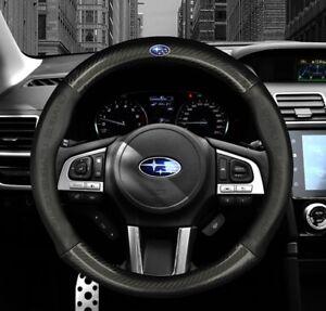 "15"" Car Steering Wheel Cover Genuine Leather For Subaru"