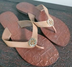 Tory Burch Thora Cream Leather Flip Flop Sandal With Gold Logo Women's Size 7M