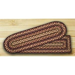 Earth Rugs 39-371 Rectangle Stair Tread - Black Cherry Chocolate and Cream