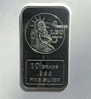 LEO design 10 grams .999 Solid Fine Silver Bullion Bar, NEW!
