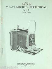 "Manuel d'utilisation ""MK.VI. Micro - Technical 5""x4"" Camera"" (Anglais)"