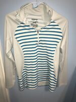 Womens Patagonia White Blue Stripe Capilene Thermal weight 3 Midweight Shirt szS