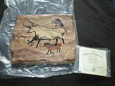 Bradford Exchange The Dawn of Man: Bison & Deer Stone Tile, New, Coa