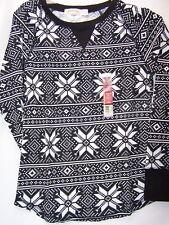 Faded Glory Girl's Long Sleeve Thermal T Shirt Medium White Black 8-10 New