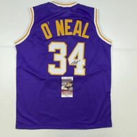 Autographed/Signed SHAQUILLE SHAQ O'NEAL Los Angeles Purple Jersey JSA COA Auto