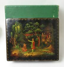 Fine vintage large Russian handpainted lacquered box - signed