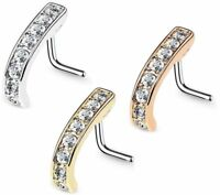 Nose Rings Stud L-Shaped Set CZ Nose Screw L-Bend Surgical Stainless Steel 20G