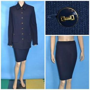 St John Knit Collection Navy Blue Jacket Skirt L 14 12 2pc Suit Buttons Collared
