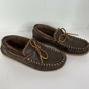 LL Bean Men Slippers Wicked Good Moccasin suede leather Brown Shearling Lined 9