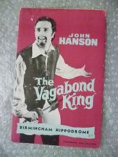1960 Theatre Programme The Vagabond King by John Hanson, Rudolf Friml