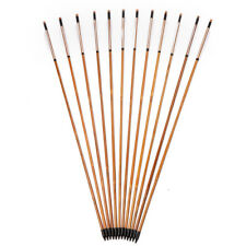 12pcs 80cm  Archery Craftsmans Bamboo Arrows White Turkey Feathers F Recure Bow