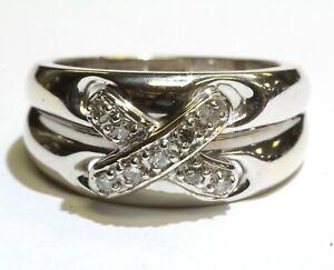 14k white gold .18ct I1-2 I diamond x cluster ring 8.1g estate vintage