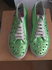 W6YZ Green Jewelled Trainers Size 36 UK 3.5 VGC RRP £95