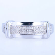 Solid 10K White Gold Natural Diamonds Band Pave Setting Men's Jewelry Fine Ring