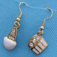 Cute Lovely Ice Cream Cone Cake Rheinstones Small Dangle Hook Earrings 2.5 cm