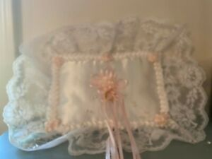 Wedding Ring Bearer Pillow Satin Beads Ribbons Lace hand made new