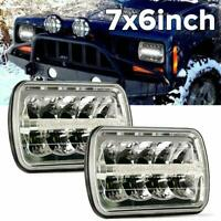 2X 5X7'' 7X6'' LED Headlights Hi-Lo Beam DOT Approved For Jeep Cherokee XJ YJ