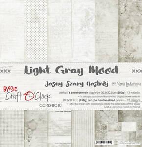 "12"" x 12"" scrapbooking paperpad cardstock Light Grey Mood 7 sheets 250gsm"