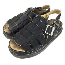 "Skechers Mens Black Leather Fisherman Gladiator Sandal 1"" Gel Sole US 9  6708"