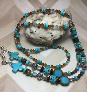 Handmade Turquoise Stone Eyeglass Chain/Mask/Lanyard W/Swarovski Elements USA