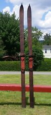 """Antique WOODEN Skis 83"""" Long w/ POINTS Snow Skiis Bindings w/ Lots of Leather!"""