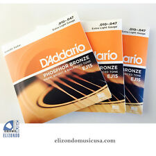 D'Addario 3 Packs EJ15 Phosphor Bronze Extra Light Acoustic Guitar Strings 10-47