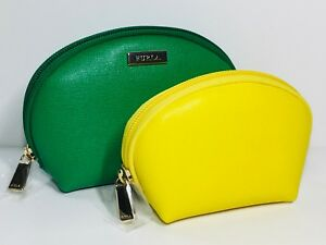 Furla Classic Leather Cosmetic Pouches - Set of 2 (Emerald/Sunshine Yellow)