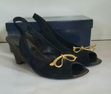 Luc Berjen Wedges. Black suede with gold bow detail. UK 6