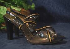 Black Leather Gold  Metal Clear Plastic AFFINITI Slingback Peep Toe Pumps 7.5 AA
