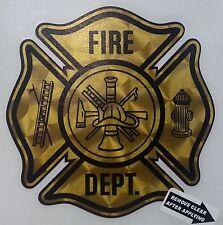 """Fire Dept., Firefighter, Gold Coburn Vinyl Decal, 3.75"""". wide  #FD93"""
