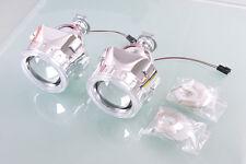 "STO Car Headlight Cover 2.5"" H1 Mini Projector Angel Lens Silver Lamp Shroud LHD"
