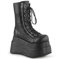 Demonia BEAR-265 Women's Black Leather Tiered Wedge Zipper Lace-Up Mid-Calf Boot