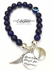 Evil Eye Sapphire Bracelet With Guardian Angel For Happiness Angel Wing Charms