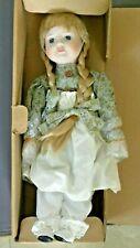 "Vintage 14"" Gretchen Doll Porcelain Auburn Hair Blue Eyes NEW"