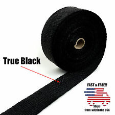 "BLACK MOTORCYCLE EXHAUST WRAP Heat Manifold Header 2""x 25FT ROLL VERY HIGH TEMP"