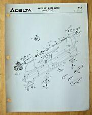 Original Delta 10 Wood Lathe Old Style 46 110 Illustrated Parts List Wl 1