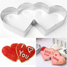 Stainless Steel Double Heart Biscuit Cookie Cutter Fondant Cake Mold Tool