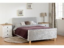 Seconique Shelby Grey Crushed Velvet Sleigh Bed - 4ft6 Double