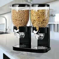 NEW DOUBLE CEREAL DISPENSER DRY FOOD STORAGE CONTAINER DISPENSER MACHINE
