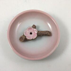 Japanese Incense Stick Cone Burner Stand Holder Ceramic Pink Plum Iga Branch