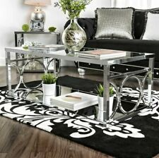 Silver Orchid Pehrson Contemporary Large Coffee Table (Metal, Glass, Mirror)