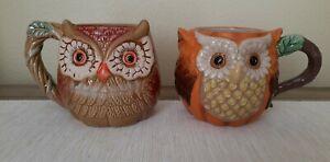 Two🍁🎃Gorgeous Fall Autumn Pumpkin Owl Figural Coffee Mug Cracker Barrel 18oz
