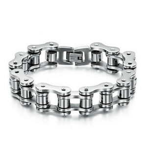 HN- FT- Titanium Steel Men's Bracelet Bike Link Chain Wristband Bangle Jewelry U