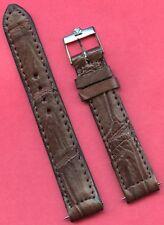Vintage Omega Steel Buckle Brown 18mm Genuine Crocodile Strap Band For Seamaster