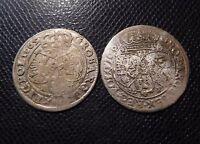 POLAND  / 2 x MEDIEVAL SILVER COINS LOT 4. / 1665