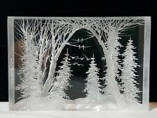 FRA Frank R Albrecht Acrylic Lucite Carved Etching Winter Scene Trees Birds 1996