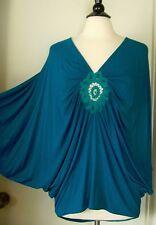 SKY Brand Dolman Batwing Sleeve Oversize Boho Top Crochet Lace Blue Green Sz M