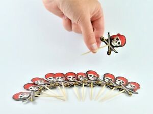 PIRATE HALLOWEEN 12 SKULL & SWORDS CUPCAKE PICKS TOPPERS PARTY TABLE DECORATION