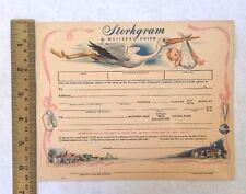 Western Union Telegram Form Storkgram Baby Announcement Blank 1955 Illustrated